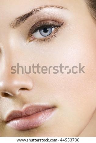 Woman with perfect natural makeup - stock photo