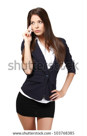 woman with phone, isolated on white