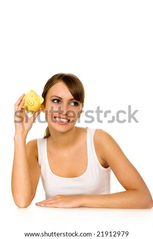 Woman with Piggy Bank - stock photo
