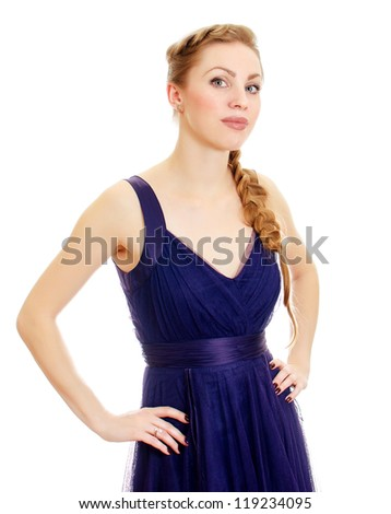Woman with pigtail in blue dress. Isolated on white.