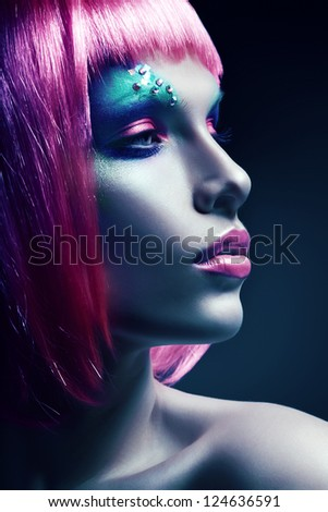 woman with pink hairstyle - stock photo