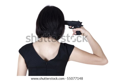 Woman with pistol pointing on her head, rear view isolated on white. - stock photo