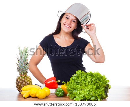 Woman with pot on the head would be to cook - stock photo