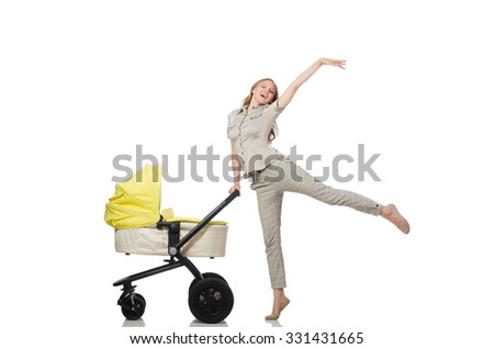 Woman with pram isolated on white - stock photo