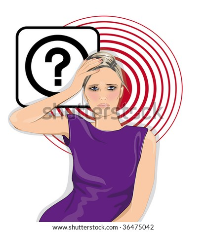 Woman with question - stock photo