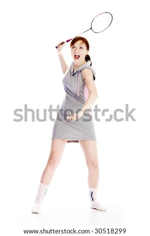 woman with racket isolated on white - stock photo