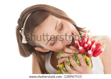 Woman with radishes
