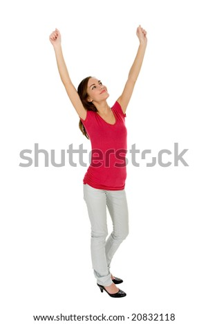 Woman with Raised Arms - stock photo