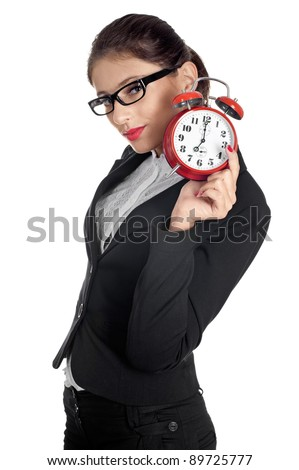 Woman with red alarm clock isolated on white. - stock photo