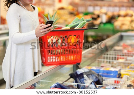 Woman with red basket using mobile phone in shopping store - stock photo