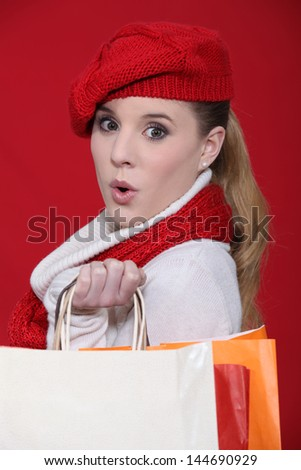 Woman with red beret - stock photo