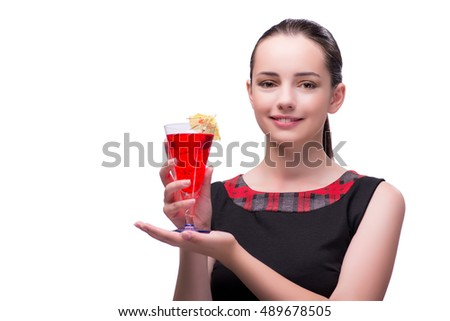 Woman with red cocktail isolated on white