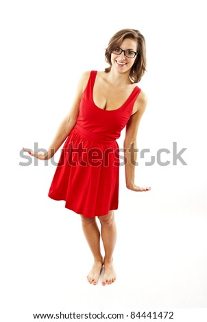 woman with red dress
