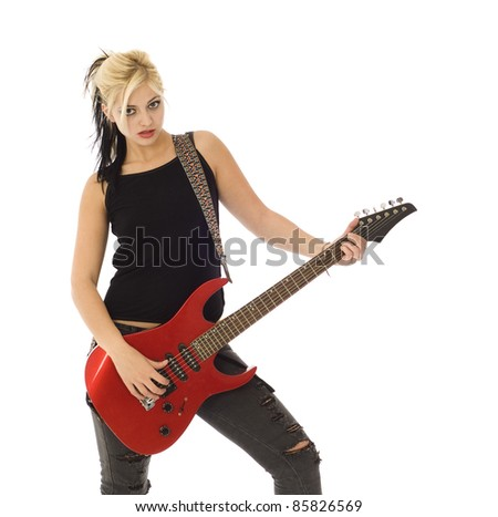 Woman with red guitar looking at you isolated on white - stock photo