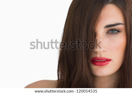 Woman with red lips and long hair on white background - stock photo