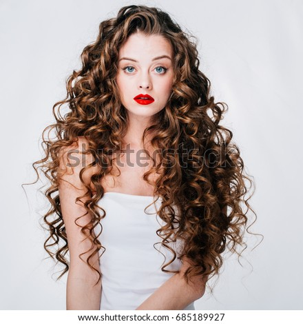 Woman Red Lipstick Curly Hair Fashion Stock