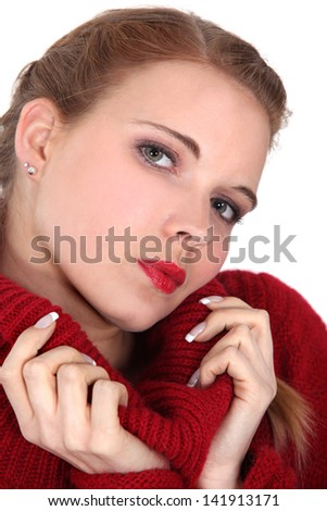 Woman with red-neck jersey - stock photo