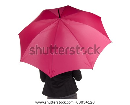 woman with red umbrella - stock photo