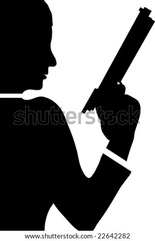 woman with revolver isolated on white background illustration - stock photo