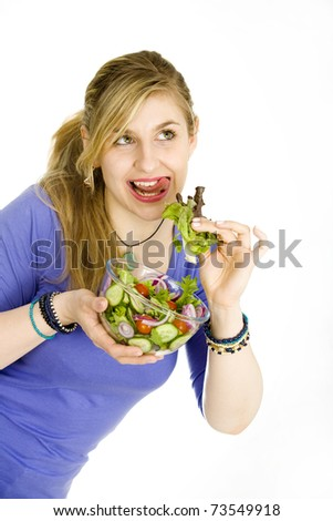 Woman with salad, healthy eating and living