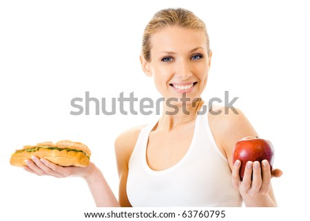 Woman with sandwich and apple, isolated on white - stock photo