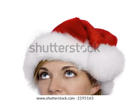 Woman with Santa Hat looking up wondering