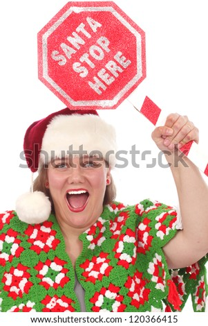 Woman with Santa Stop Here sign - stock photo