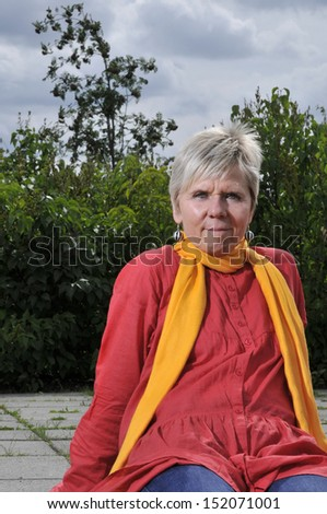 woman with scarf - stock photo