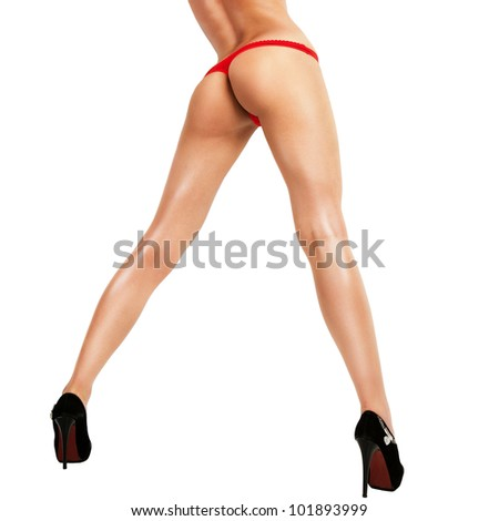 Woman with sexy ass and legs isolated on white. - stock photo