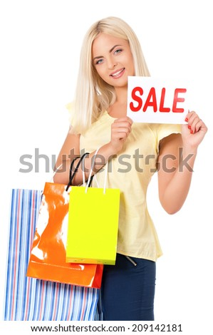 Woman with shopping bag - stock photo