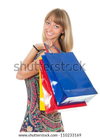 woman with shopping bag isolated on white - stock photo