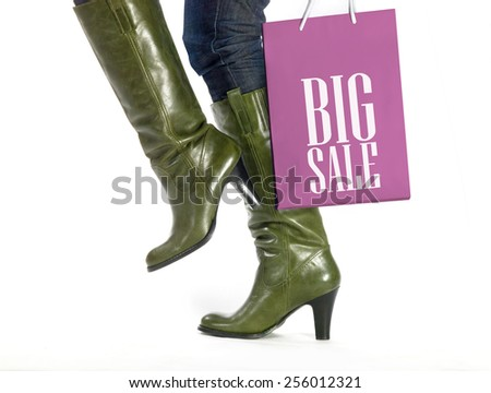 woman with shopping bag sale - stock photo