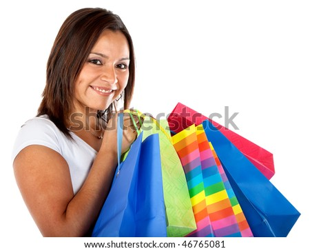 Woman with shopping bags isolated over a white background