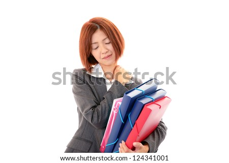Woman with shoulder neck pain. - stock photo