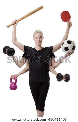 woman with six arms holding different sports items in each hand  - stock photo