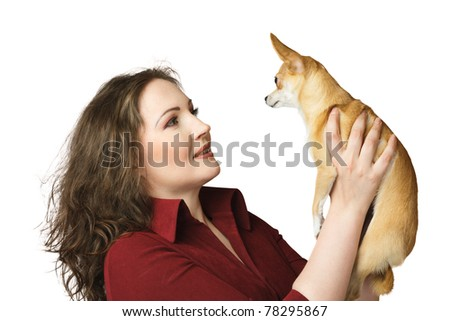 Woman with small dog chihuahua - stock photo