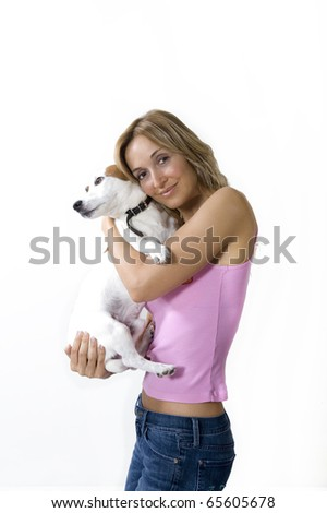 Woman with small jack russel terrier - stock photo