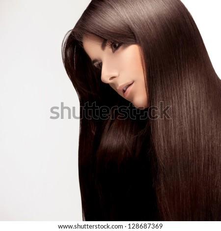 Woman with smooth hair. High quality image. - stock photo