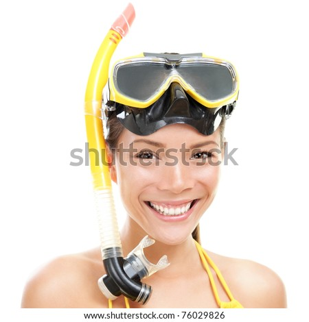 Woman with snorkel mask tuba and snorkel. Snorkeling, swimming, vacation concept isolated on white background. Chinese Asian / Caucasian female model - stock photo