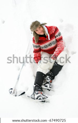 Woman with snow racket