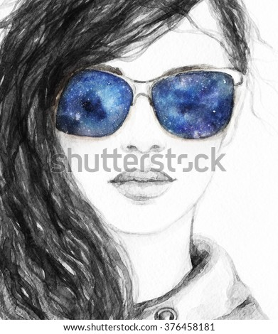 Woman with space glasses.watercolor fashion illustration - stock photo