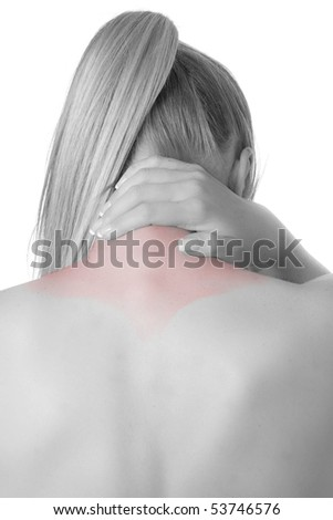 Woman with spine and back pains - stock photo