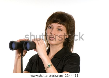 woman with spyglasses - stock photo