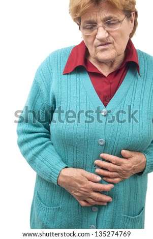 Woman with stomach pain isolated on white background