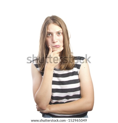 woman with strange face - stock photo
