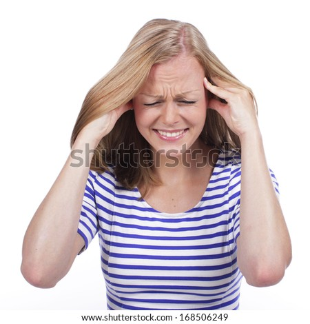 Woman with strong headache isolated
