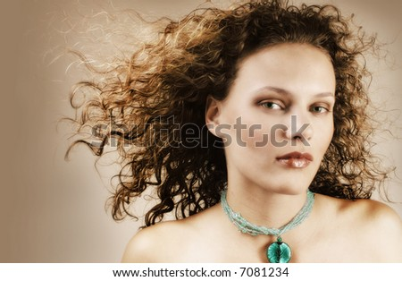woman with stunning face - stock photo