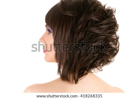 woman with stylish hairstyle and makeup