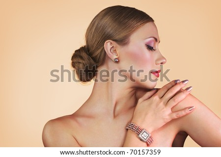 Woman with stylish wristwatch - stock photo