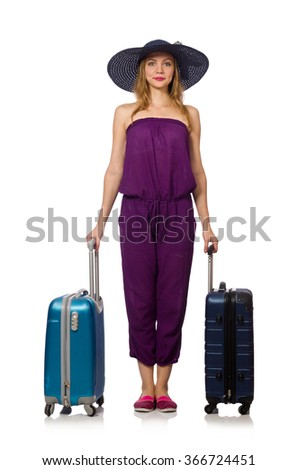 Woman with suitcase isolated on white - stock photo